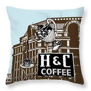 H And C Coffee Sign Roanoke Virginia Throw Pillow