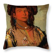 Ha-won-je-tah, One Horn, Head Chief Of The Miniconjou Tribe Throw Pillow