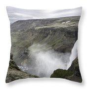 Haifoss Waterfall Iceland 1340 Throw Pillow