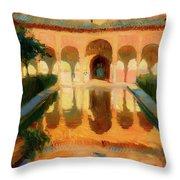 Hall Of The Ambassadors -  Alhambra Granada Throw Pillow