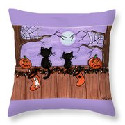 Halloween Cats Fence Throw Pillow