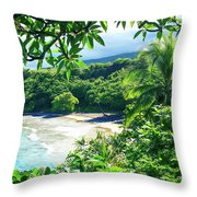 Hamoa Beach Hana Maui Hawaii Throw Pillow