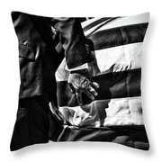 Hand In Flag Throw Pillow