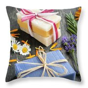 Handmade Soaps With Herbs Throw Pillow