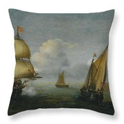 Hans Goderis Dutch Shipping At Sea, 1615 Throw Pillow
