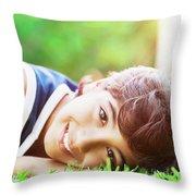 Happy Boy Outdoors Throw Pillow