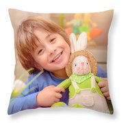 Happy Boy With Easter Bunny Throw Pillow