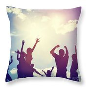Happy Friends Family Jumping Together Having Fun Throw Pillow
