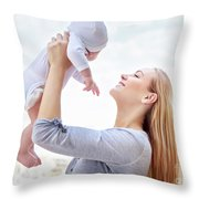 Happy Mother With Baby Throw Pillow