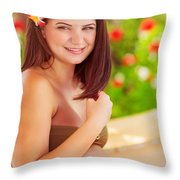 Happy Pregnant Girl On The Beach Resort Throw Pillow