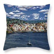 Harbor In Corricella Throw Pillow