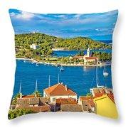 Harbor Of Vis Island Panorama Throw Pillow
