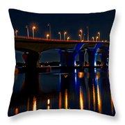 Hathaway Bridge At Night Throw Pillow