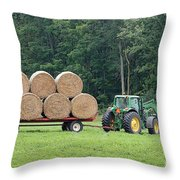 Hauling Hay Throw Pillow
