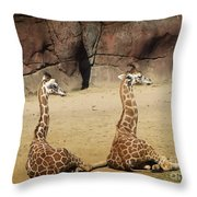 Having A Giraffe Throw Pillow