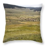 Hayden Valley Herd Throw Pillow