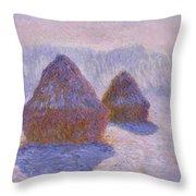 Haystacks, Snow And Sun Effect Throw Pillow