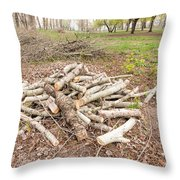 Heap Of Cut Wood Throw Pillow