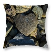 Heart Shaped Stone Loch Fyne  Throw Pillow