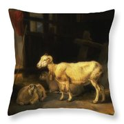 Heath Ewe And Lambs Throw Pillow