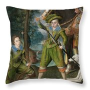 Henry Frederick Prince Of Wales With Sir John Harington In The Hunting Field Throw Pillow