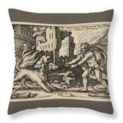 Hercules Capturing Cerberus Throw Pillow