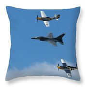 Heritage Flight, P-51 Mustang And F-16 Fighting Falcon Throw Pillow