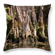 Heron And Cypress Knees Throw Pillow