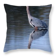 Heron Reflection Throw Pillow