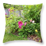Hibiscus In The Garden Throw Pillow