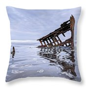 The Peter Iredale Wreck, Cannon Beach, Oregon Throw Pillow