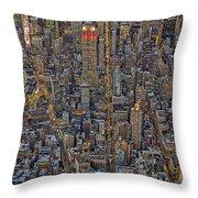 High Over Manhattan Throw Pillow