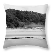 Hilton Head Island Shoreline In Black And White Throw Pillow