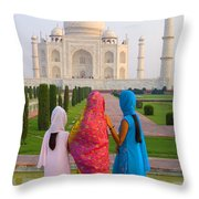 Hindu Women At The Taj Mahal Throw Pillow by Bill Bachmann - Printscapes