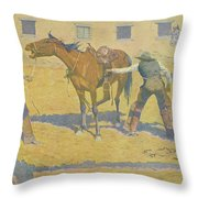 His First Lesson Throw Pillow