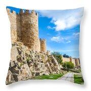 Historic Walls Of Avila Throw Pillow