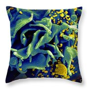 Hiv-infected T Cell, Sem Throw Pillow by Science Source