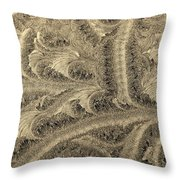 Extraordinary Hoarfrost Scallop Patterns In Sepia Throw Pillow