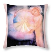 Holding On To The Birth Of Color Throw Pillow