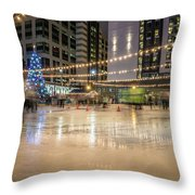 Holiday Scenes In Uptown Charlotte North Carolina Throw Pillow