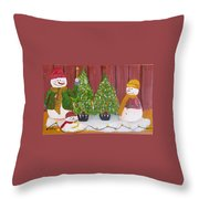 Holiday Snowmen Throw Pillow