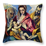 Holy Family With St Anne Throw Pillow