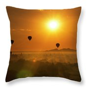 Holy Temple And Hot Air Balloons At Sunrise Throw Pillow by Pradeep Raja PRINTS