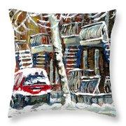 Achetez Les Meilleurs Peintures De Scenes De Montreal En Hiver Winter Scene Paintings Throw Pillow