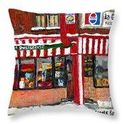 Original Montreal Paintings For Sale Peintures A Vendre Restaurant La Quebecoise Deli Throw Pillow