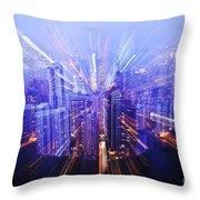 Hong Kong Lights Throw Pillow by Ray Laskowitz - Printscapes
