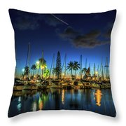Honolulu Harbor By Night Throw Pillow