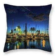 Honolulu Harbor By Night Throw Pillow
