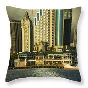 Honolulu Harbor Throw Pillow
