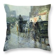 Horse Drawn Cabs At Evening In New York Throw Pillow by Childe Hassam